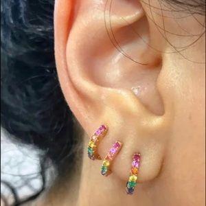 Multi Stone CZ Rose Gold Ear Hugger Earrings,NWT